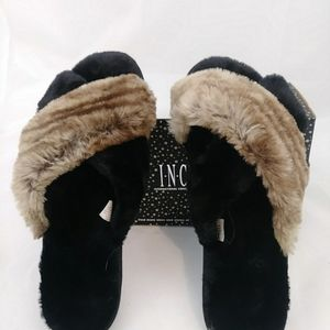 INC Faux Fur Slide Slippers Black Brown XL(11-12)